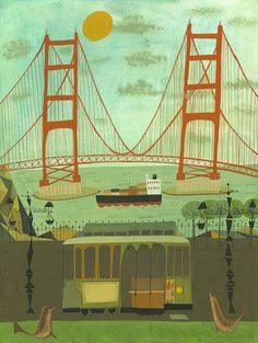 """Golden Gate Bridge limited edition print by Matte Stephens. We have a copy of this print, which reminds me of the artwork from the 1962 """"This Is San Francisco"""" children's book. $60"""