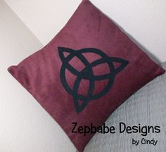 Led Zeppelin JPJ Dark Red Pillow Case 12x12     $25   Corduroy Fabric with iron on applique symbols https://www.learn2sewflorida.com/Zepbabe_Designs.html
