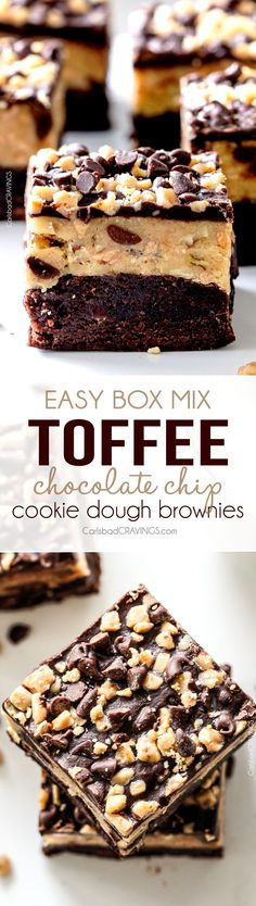 Easy box mix Toffee Chocolate Chip Cookie Dough Brownies don't get any easier or more delicious! A rich, fudgy brownie topped with eggless, toffee filled chocolate cookie dough! perfect for entertaining or holiday gifts! #christmas