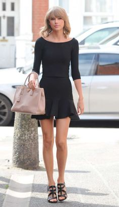 18ea6f16e Taylor Swift in Black Mini Dress – Leaving the Ham Yard Hotel in London