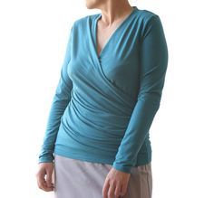 Items similar to Plus size top - Wrap long sleeve top - Blue top - Wrap top - Blue wrap top - Made to order top - Handmade top - Plus size clothing on Etsy Cute Maternity Outfits, Pregnancy Outfits, Maternity Clothing, Plus Size Skirts, Plus Size Outfits, Long Sleeve Wrap Top, Spring Skirts, Plus Size Pregnancy, Blue Tops