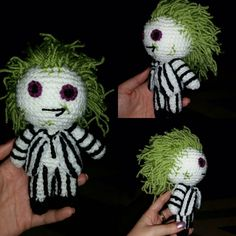 "crochet doll Beetlejuice betelgeuse 6"" sci-fi geek retro gift vegan amigurumi halloween handmade Tim Burton horror by CLASSYCHASSISUK on Etsy https://www.etsy.com/listing/250510949/crochet-doll-beetlejuice-betelgeuse-6"