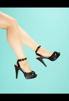 Bettie Black Satin Heel with Ankle Strap and Peep Toe