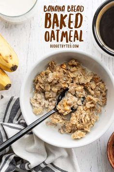 The rich and sweet flavor of banana bread infused into a healthy baked oatmeal. This Banana Bread Baked Oatmeal is perfect for breakfast meal prep! Budgetbytes.com Brunch Recipes, Baby Food Recipes, Vegan Recipes, Baked Oatmeal Recipes, Banana Recipes, Breakfast Dishes, Breakfast Recipes, Breakfast Ideas, Breakfast Time