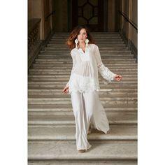 Blusa Blanca 7 Antica Sartoria - Nacaren Shop - Antica Sartoria Ibiza Fashion, White Dress, Wedding Dresses, Style, White Colors, Plunging Neckline, Silk, Sleeves, Blouses