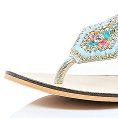 Silver leather embellished sandals - flat sandals - shoes / boots - women
