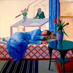 David Hockney, Model With Unfinished Self-Portrait, 1977.