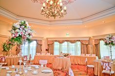 Pretty and pink reception at Disney's Grand Floridian Resort's Whitehall Room Contact me for more details: krystal@castlesanddreamstravel.com