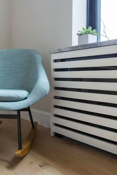 Same project from Sweeten - close-up of custom radiator cover Custom Radiator Covers, Modern Radiator Cover, Bedroom Radiators, Designer Radiator, Home Gadgets, Cover Design, Diy Furniture, Diy Home Decor, Home And Family