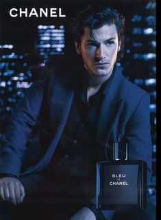 """Chanel """"Bleu de Chanel"""" Fragrance : Gaspard Ulliel by Jean-Baptiste Mondino This bottle usually disappears into my sons basketball duffle bag or back sack."""