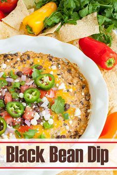 Easy, cheesy black bean dip is full of flavor and so simple to make. This hot cream cheese dip recipe will be a great appetizer for your next party or potluck. Perfect game day snack. Serve warm with tortilla chips, crackers or veggies. Top with jalapenos, tomatoes, onions, cilantro, avocado and/ or more cheese. #dips #appetizers #beans #partyfood #gameday #tailgate #snacks Cold Dip Recipes, Bean Dip Recipes, Cheese Dip Recipes, Cheese Dips, Cheesy Recipes, Drink Recipes, Snack Recipes, Healthy Recipes, Great Appetizers