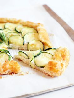 Garlic ricotta courgette galette