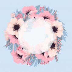 Flower Background Wallpaper, Flower Backgrounds, Wallpaper Backgrounds, Framed Wallpaper, Pink And Blue Flowers, Instagram Frame, Instagram Logo, Floral Logo, Floral Design