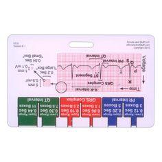 Ekg Ruler Badge Pocket Card Horizontal for Nurse Paramedic EMT for ID Badge Clip Strap or Reel Ecg