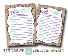 Famous Couples Bridal Shower Game- Instant Download-- Customization NOT Included- Printable File