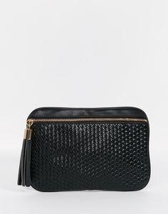 ASOS Weave Clutch Bag With Tassel