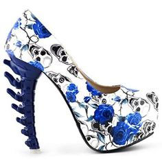 Show Story Ladies Skull Rose Print Platform Bone Heel Party Club Pumps - £19.99