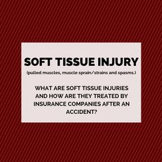 """What are """"soft tissue"""" injuries and how are they treated by insurance companies?  Soft Tissue Injuries (STI) are what we call non-objective injuries. They are pulled muscles, muscle sprain/strains and spasms.  Keep Reading: - http://www.zacharassociates.com/accident-injuries/soft-tissue-injury-lawyers/"""