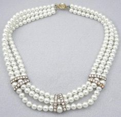 Triple Strand Faux Pearl Necklace - Garden Party Collection Vintage Jewelry