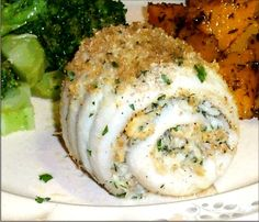 Rolled Flounder Fillets with Crabmeat Stuffing/added leftover Paula Dean crab dip, green onion, parsley,lemon juice, hot sauce, chopped shrimp, crushed nonsalted crackers
