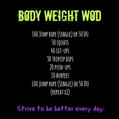 50 DUs 50 squats 50 sit ups 50 tricep dips 50 push ups 50 burpees 50 DUs s fitnees routine Fitness Workouts, Wod Workout, Travel Workout, Fitness Tips, Health Fitness, Rowing Workout, Fitness Classes, Workout Guide, Workout Plans