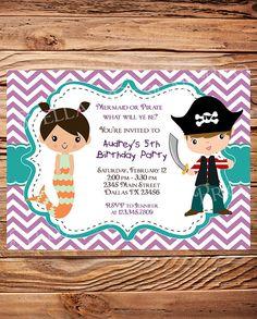 Mermaid or Pirate Birthday Party Invitation, GIRL, BOY, Little Mermaid, Pirate Birthday Party, Teal, Chevron Stripes, Printable (Item 4023) on Etsy, $21.00