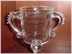 """Steuben - 8"""" Art Glass Ruffle Handles Vase Urn Large - Unsigned Apprentice Piece With History - Corning New York Modern - FREE SHIPPING by FindMeTreasures on Etsy"""