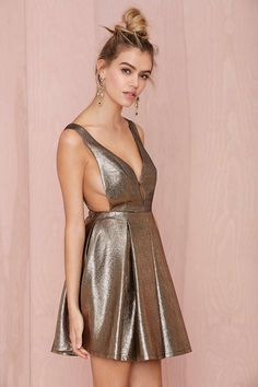 Precious Metals Fit and Flare Dress #NastyGal  If I had boobs for this, I would totally wear that..