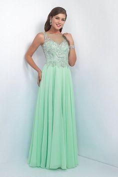 Intrigue - Illusion Bateau Neckline Embellished A-line Dress 165. #ad