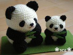 Osos panda, a crochet (amigurimi)