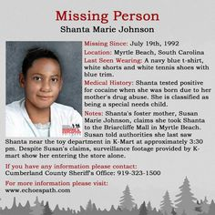 Shanta showed signs of abuse 1 month before she disappeared. Was Shanta murdered? Amber Alert, Blue T, Missing Persons, Medical History, Looking For Someone, 1 Month, True Crime, Mysterious