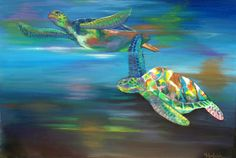 """'Sea Turtles'  By Helen Leigh   Abstract Expressionist-Drip Painting (style)  Materials:  Acrylic and Metallic Paint on Canvas  LARGE 90cm x 60cm x 3.5cm (24"""" x 36"""") - Exhibition Grade Canvas."""