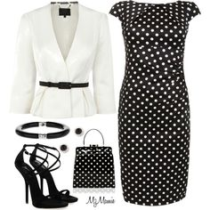 I really want a polka dot dress. i think i'd go with a plain black bag though. Office Fashion, Work Fashion, College Fashion, Curvy Fashion, Fall Fashion, Fashion Trends, Style Work, My Style, Curvy Style