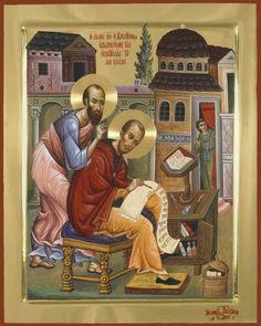 Saint John Chrysostom writing on the letters of Saint Paul the Apostle