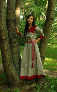 Early Medieval linen underdress dress.   100% by SlavMedievalShop