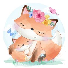 cute little foxy with flower, Watercolor, Birthday, Baby PNG and Vector Cute Animal Illustration, Cute Animal Drawings, Cute Drawings, Cute Images, Cute Pictures, Scrapbooking Image, Cute Fox, Baby Art, Mother And Baby
