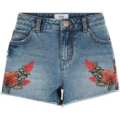 New Look Blue Floral Embroidered Denim Shorts (£20) ❤ liked on Polyvore featuring shorts, blue, mini shorts, zipper shorts, denim mini shorts, blue jean shorts and jean shorts