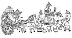 Saree Painting Designs, Glass Painting Designs, Paint Designs, Wedding Drawing, Wedding Art, Art Sketches, Art Drawings, Pencil Drawings, Rajasthani Painting