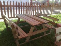 Sırtlıklı ahşap piknik masası