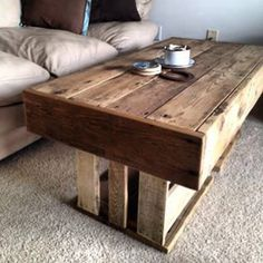 Reclaimed Cedar Deck Wood Top and Reclaimed Pallet Wood Crate bottom for a beautiful, functional, responsible coffee table. #reclaimed #functional #furnituredesign #furniture #coffeetable #palletwood #reclaiming #reclaimedwood #cedar #palletwood