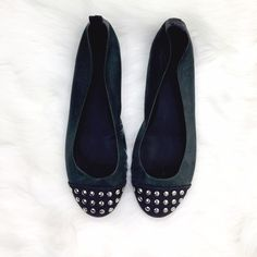 J. Crew Stud Flats These flats are cute with slacks or jeans. They are hunter green with silver studs at the toe. J. Crew Shoes Flats & Loafers