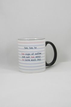 Grammar- themed coffee mug! Design is heat pressed into the mug so they are won't ever fade. They are also scratch proof and dishwasher safe.  Measures 11 oz.  Grammar Coffee Mug by Fly Paper Products. Home & Gifts - Home Decor - Dining - Dinnerware Rhode Island