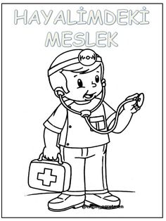 Meslekler Coloring Pages, Preschool, Clip Art, How To Plan, Photo And Video, Education Clipart, Black And White, Fictional Characters, Kids Face Paints