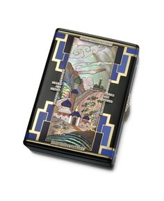 Vanity case with central mosaic panel depicting a persian mosque in a lush landscape composed of tinted mother-of-pearl and hardstone, surrounded by a geometric pattern with diamond accents, the reverse with similar layered enamel rectangles; mounted in gold and platinum