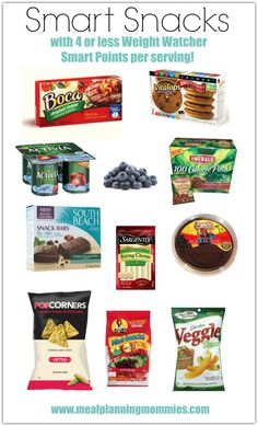 Smart Snacks with 4 or less Weight Watcher Smart Points of less per serving- Meal Planning Mommies Weight Watchers Points List, Smartpoints Weight Watchers, Weight Watcher Smart Point Meals, Weight Watchers Frozen Meals, Weight Watchers Diet, Weight Watchers Lunches, Weight Watcher Dinners, Weight Watchers Meal Plans, Recette Weight Watcher