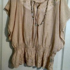 Peasant blouse Blush colored, super comfy, great for summer! Tops Blouses
