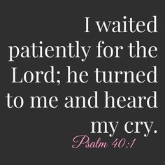 I waited patiently for the LORD; he turned to me and heard my cry. - Psalm 40:1