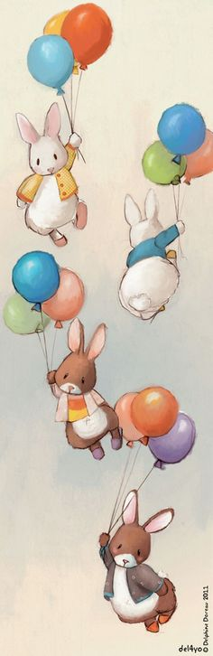 Flying Bunnies art print by Delphine Doreau, $19.99
