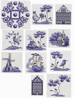 Very pretty Delft Blue. Cross Stitch House, Mini Cross Stitch, Cross Stitch Samplers, Counted Cross Stitch Patterns, Cross Stitch Charts, Cross Stitch Designs, Cross Stitching, Cross Stitch Embroidery, Embroidery Patterns