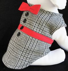 Dog Clothes Executive Tweed Pet Jacket with Bow Tie Classic Tweed Dog Coat Black and White Plaid Red Bow Tie and Trim
